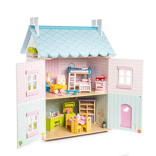 Le Toy Van – Blue Bird Wooden Cottage Dollhouse *(with furniture) H138