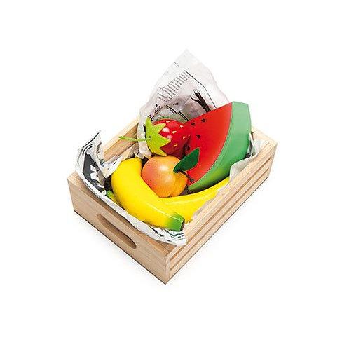 "Le Toy Van – Honeybee ""Fruits 5 A Day"" wooden market crate"