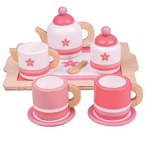 Bigjigs – Pink Wooden Tea Tray