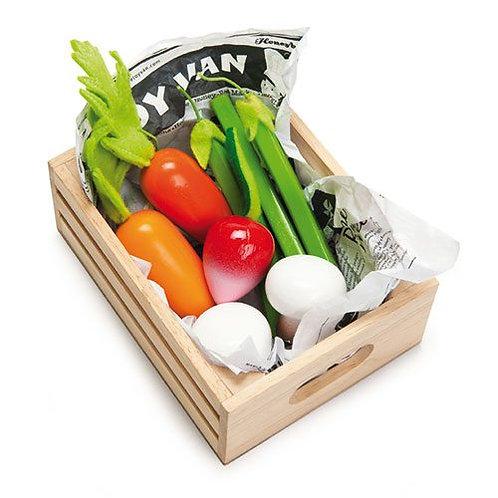 "Le Toy Van – Honeybee Vegetables ""5 a Day"" wooden food crate"
