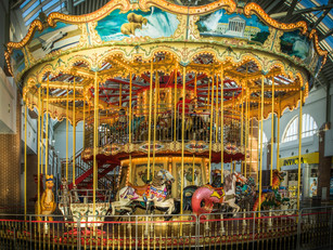 A carousel and a merry-go-round