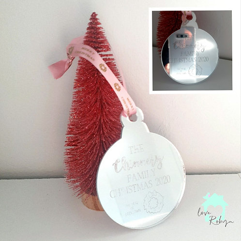 Christmas Baubles Silver Mirror