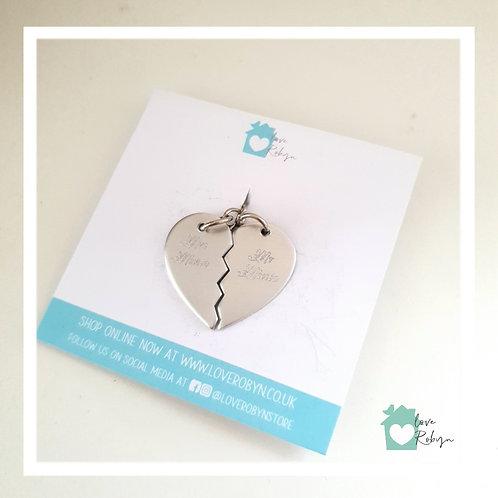 Engraved Split Heart Keyring
