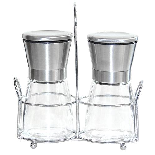 Jeanzer Salt & Pepper Grinder Set of 2, 5 Oz Glass Sea Salt and Spice Shakers