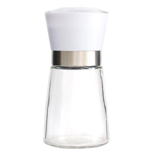 Jeanzer Salt & Pepper Grinder , 5 Oz Glass Sea Salt and Spice Shaker | White