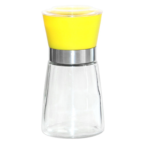 Jeanzer Salt & Pepper Grinder , 5 Oz Glass Sea Salt and Spice Shaker|Yellow