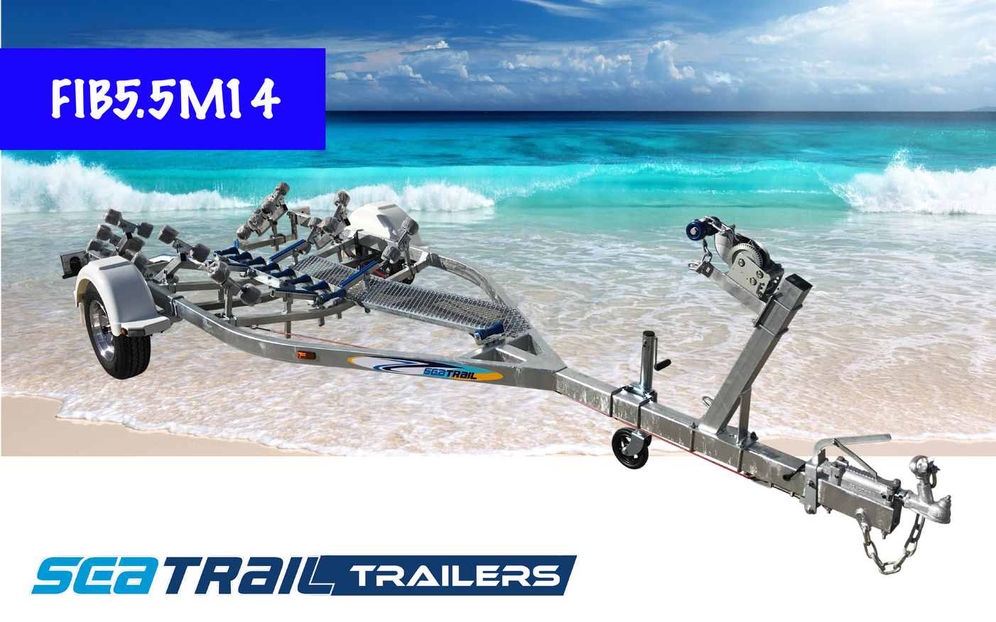 SEATRAIL FIB5.5M14 DELUXE ROLLERED BOAT TRAILER