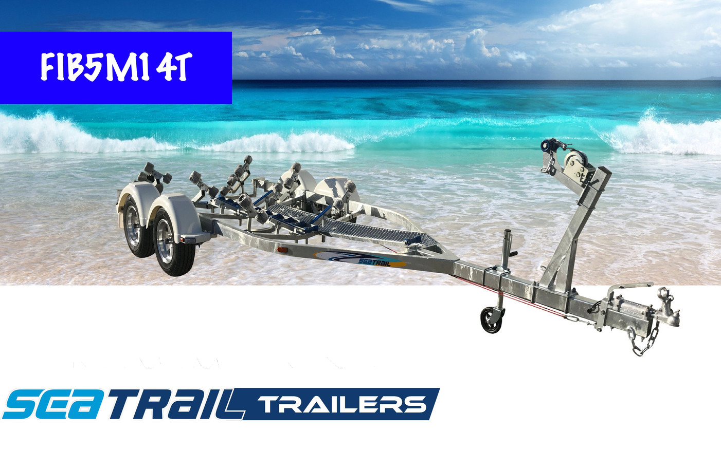 SEATRAIL FIB5M14T DELUXE TANDEM ROLLERED BOAT TRAILER