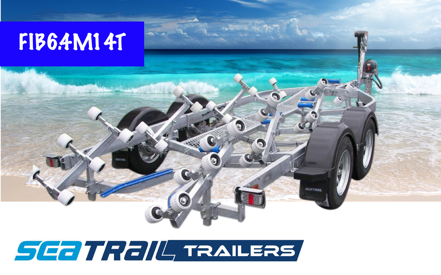 SEATRAIL FIB6.4M14T 3000KG RATED ROLLERED BOAT TRAILER