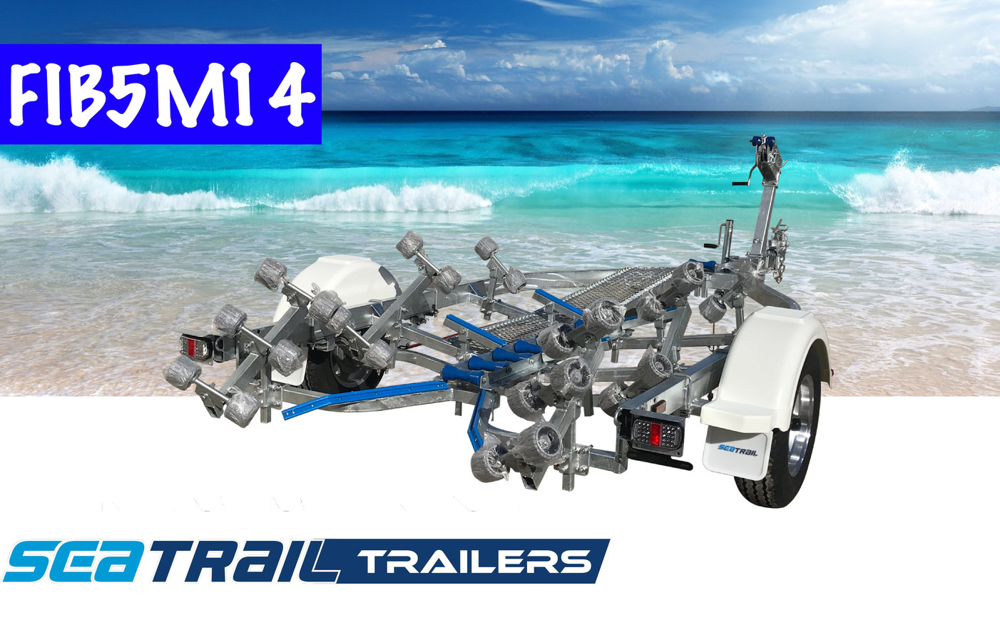 SEATRAIL FIB5M14 DELUXE ROLLERED BOAT TRAILER