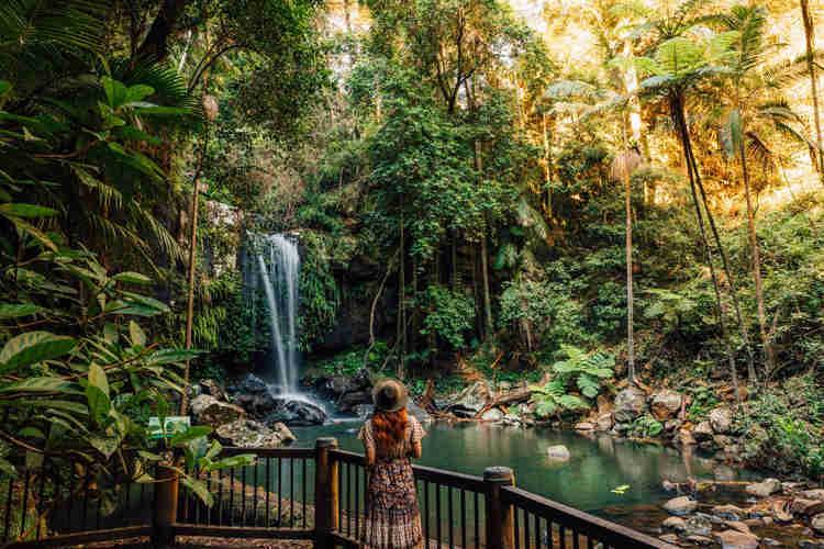Lady looking at waterfall