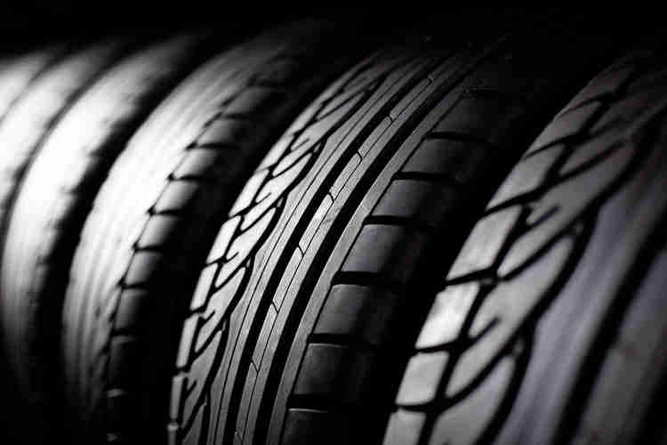Close up of car tyres