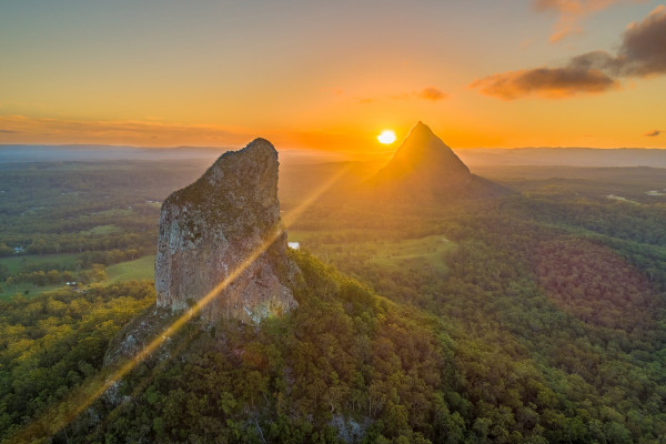 View of the Glass House Mountains