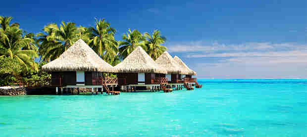 Beach huts in water