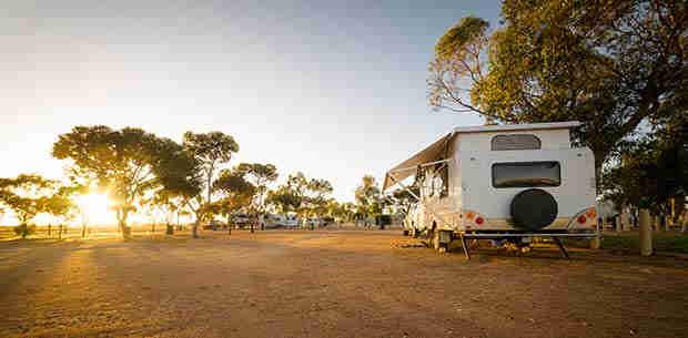 Caravan set up in country