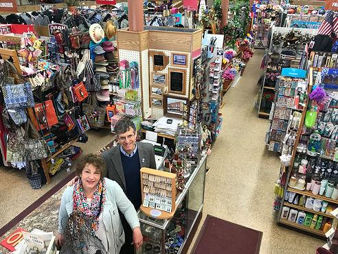 Joel Marcus & Judy Swartz Marcus inside Nina's Department & Variety Store