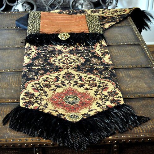Black Feather Table Runner