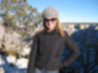 Professor Lynn Hastings dressed for cool weather in the Grand Canyon.great outdoors.