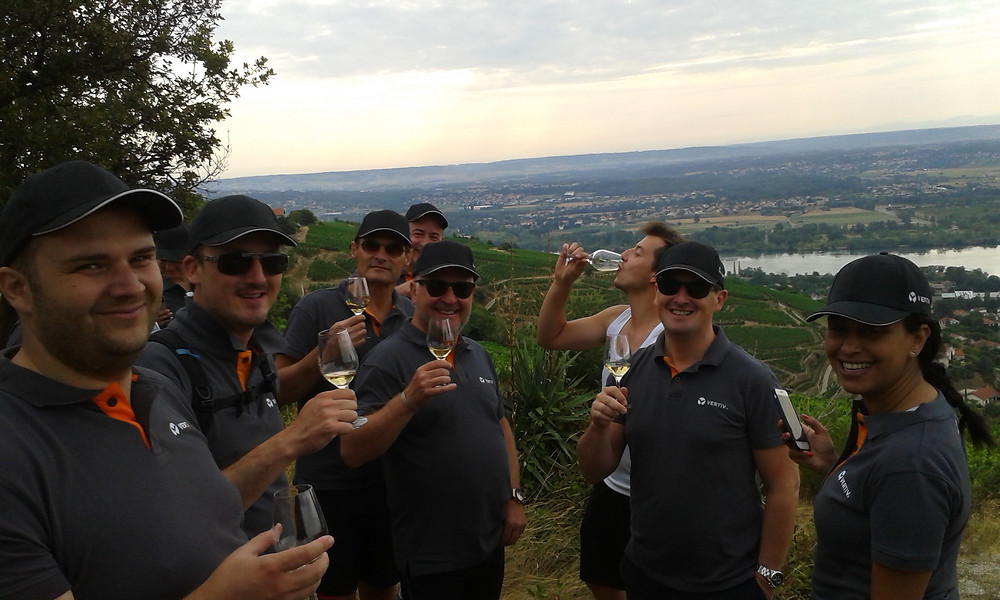 The Vertiv sales team enjoying the fruits of Domaine Verzier's hard work on the slopes of AOP St Joseph territory at Chavanay. An excellent way of celebrating the upcoming summer break!