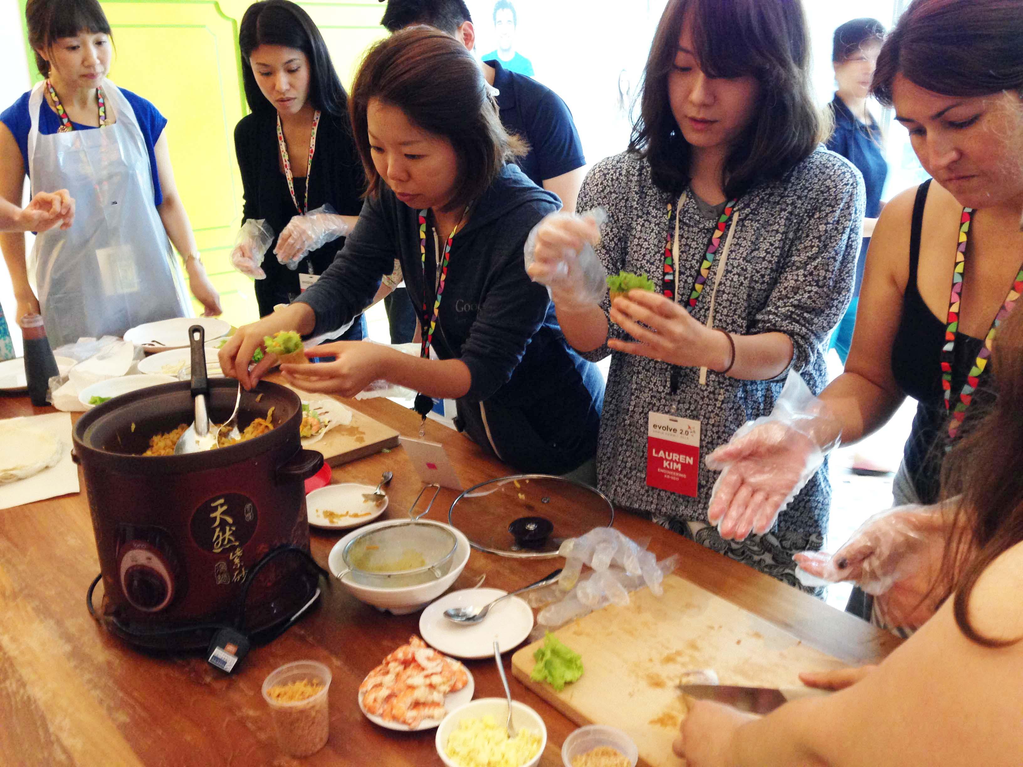 Making kueh pie tees with gusto