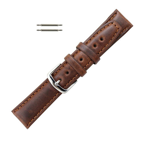 20mm Brown Oil Tanned Leather Watch Band