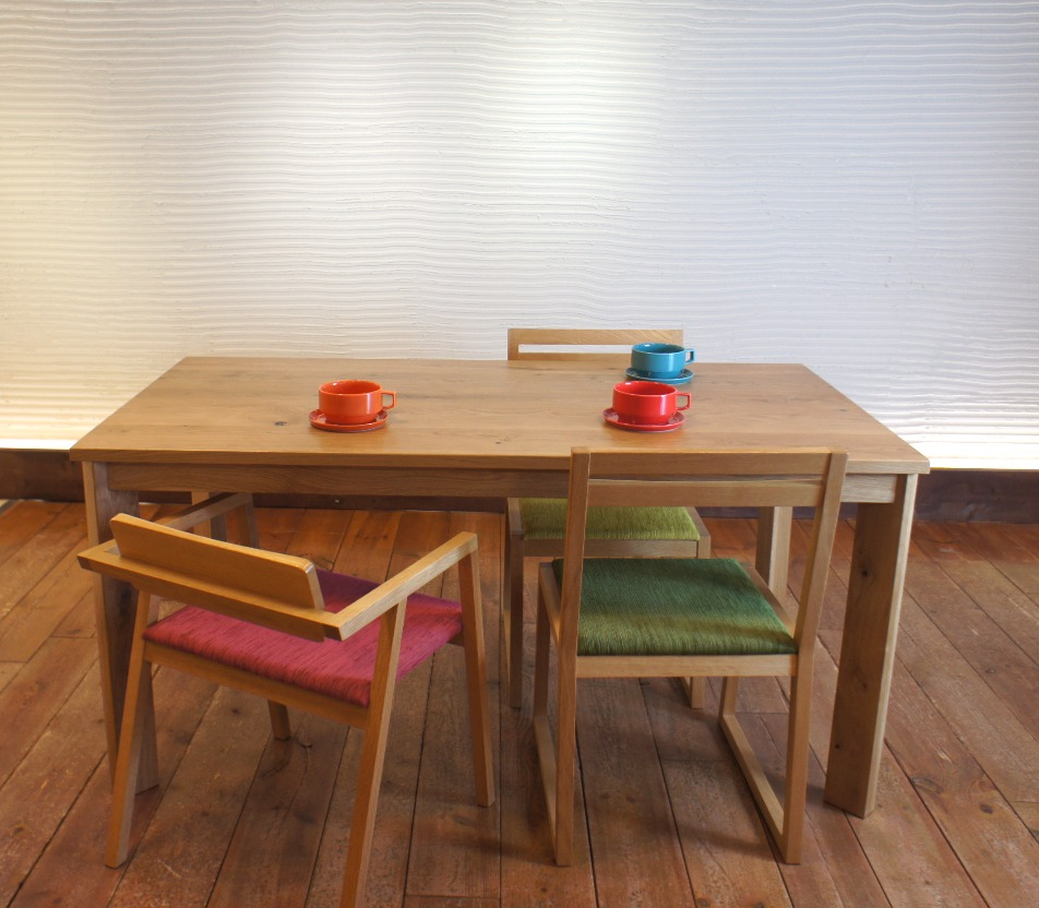 Dining Table SQ ナラ無垢材 1