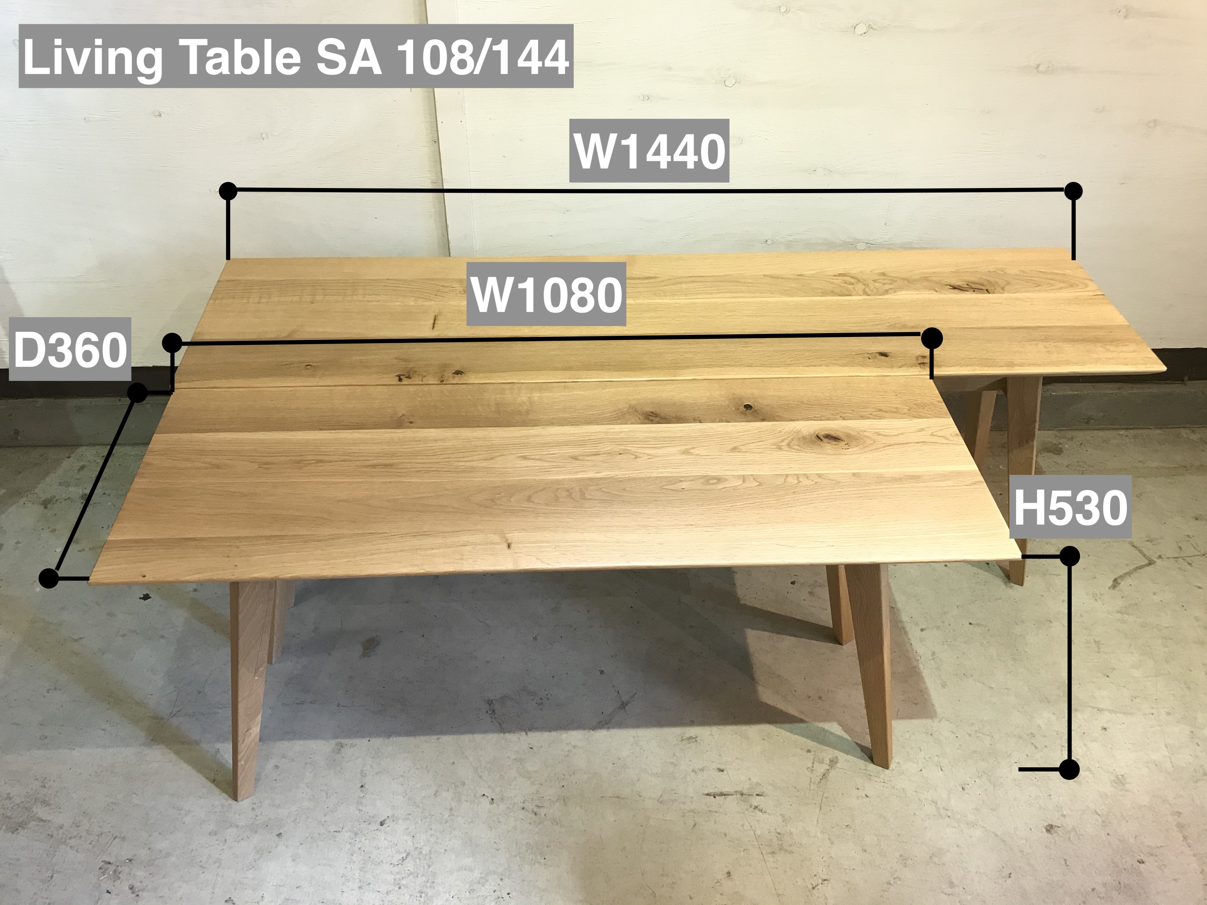 Living Table SA サイズ比較