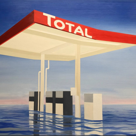 TOTAL (FLOODED GAS STATION)  40 x 53 x 1.5   Taking the stark graphic image of a gas station under the midday sun, in homage to Ed Ruscha's Standard, I bring the inescapable back story of Global Warming.  A gas station is no longer the innocent object it appeared to be in 1966, when Ruscha portrayed it.  Engulfed by rising waters, today's gas station is a victim of society's relentless inertia in facing up to the climate crisis it has created through the burning of fossil fuels. Artist  Jeffrey Long