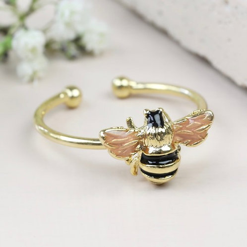Gold Adjustable Tiny Bumble Bee Ring