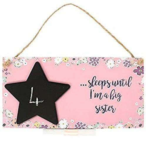 ...Sleeps Until I Am A Big Sister Chalk Baord Sign Pink - Seconds