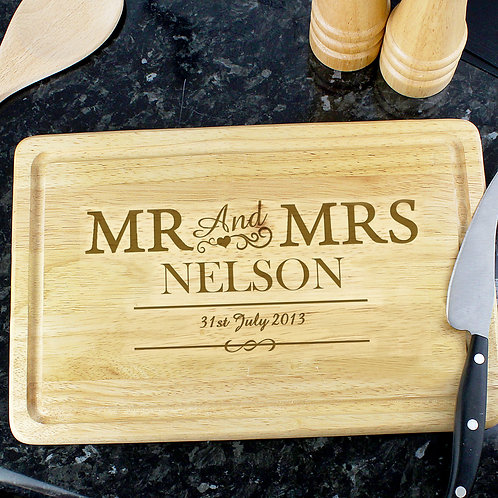 Personalised Mr & Mr, Mrs & Mrs and Mr & Mrs Chopping Board