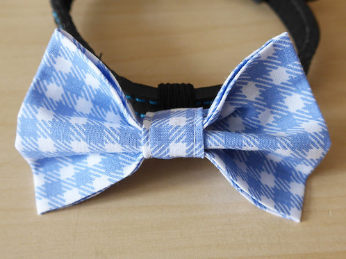 Blue Check Dog Bow Tie