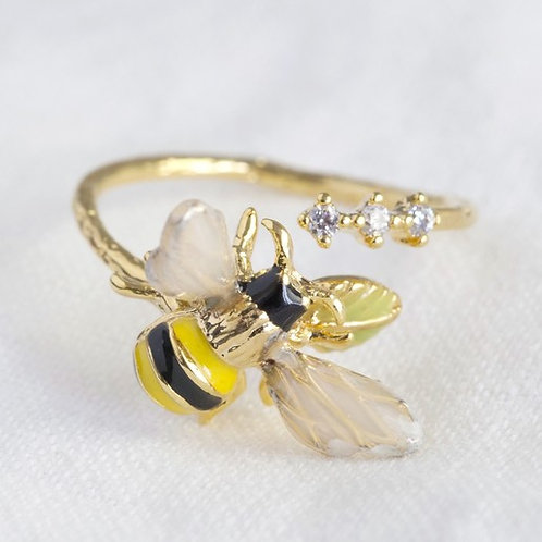 Adjustable Crystal and Bumble Bee Ring