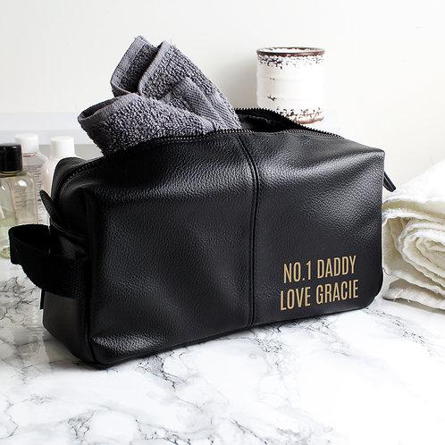 Personalised Luxury Black leatherette Wash Bag