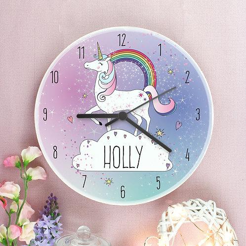Unicorn & Rainbow Personalised Clock