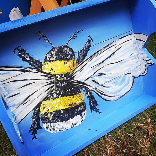Hand-painted Bright Bee Tray