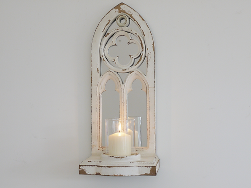 White Mirrored Arch Candle Holder **Please Read Listing**