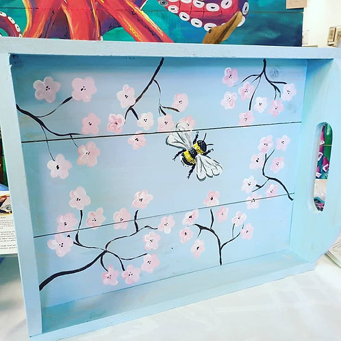 Hand-painted Cherry Bee Tray