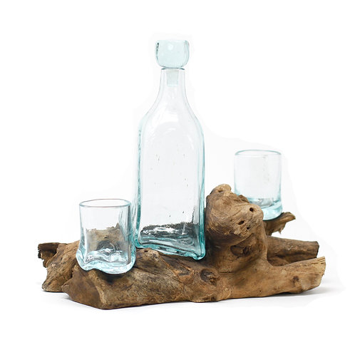 Molten Glass on Wood-Tipple Set