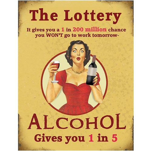 Rustic Funny Mini Metal Signs - The Lottery