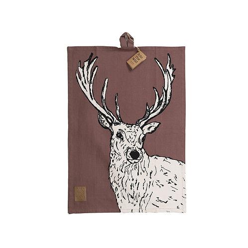 Into the wild stag tea towel