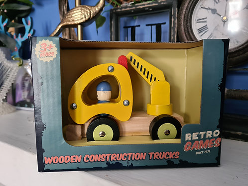 Yellow Contruction Truck Wooden Toy