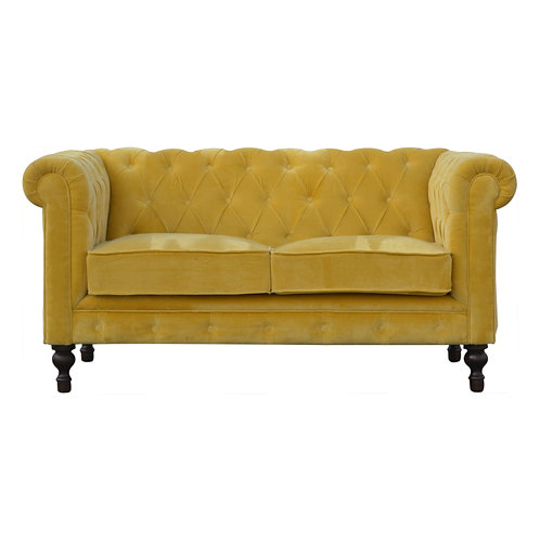 Hand-crafted Mustard Velvet 2 Seater Chesterfield Sofa