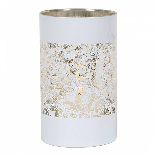 White Leaves Candle Holder - Seconds