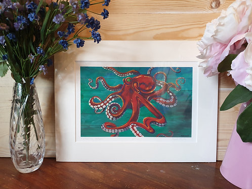 Flaming Octopus Print