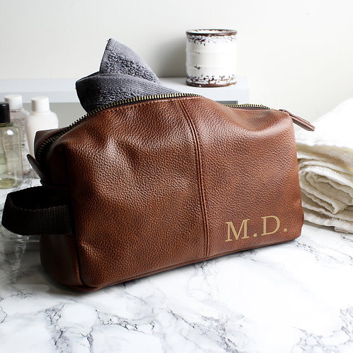 Personalised Luxury Initials Brown Leatherette Wash Bag