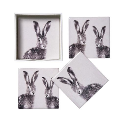 Ceramic Hare Coaster Set **Please Read Listing**