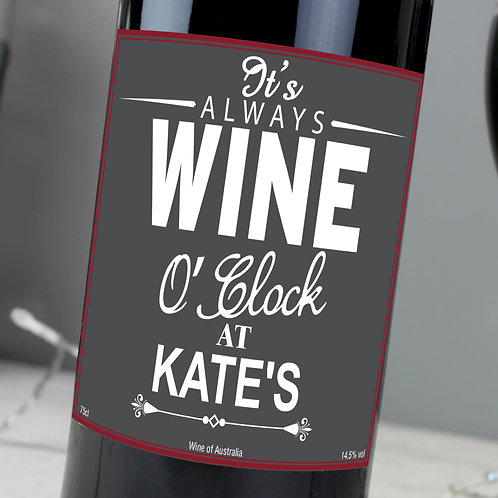 Personalised Wine O'Clock - Red
