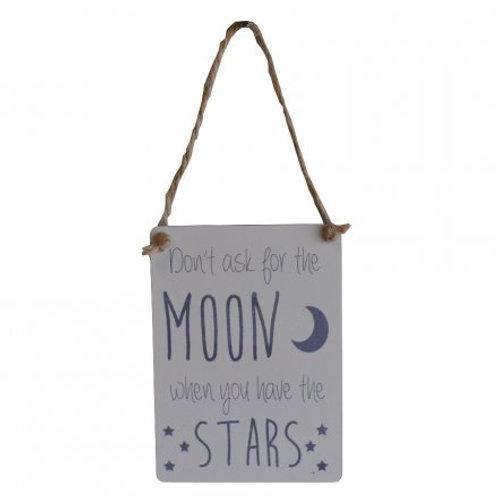 Moon & Stars Mini Metal Sign