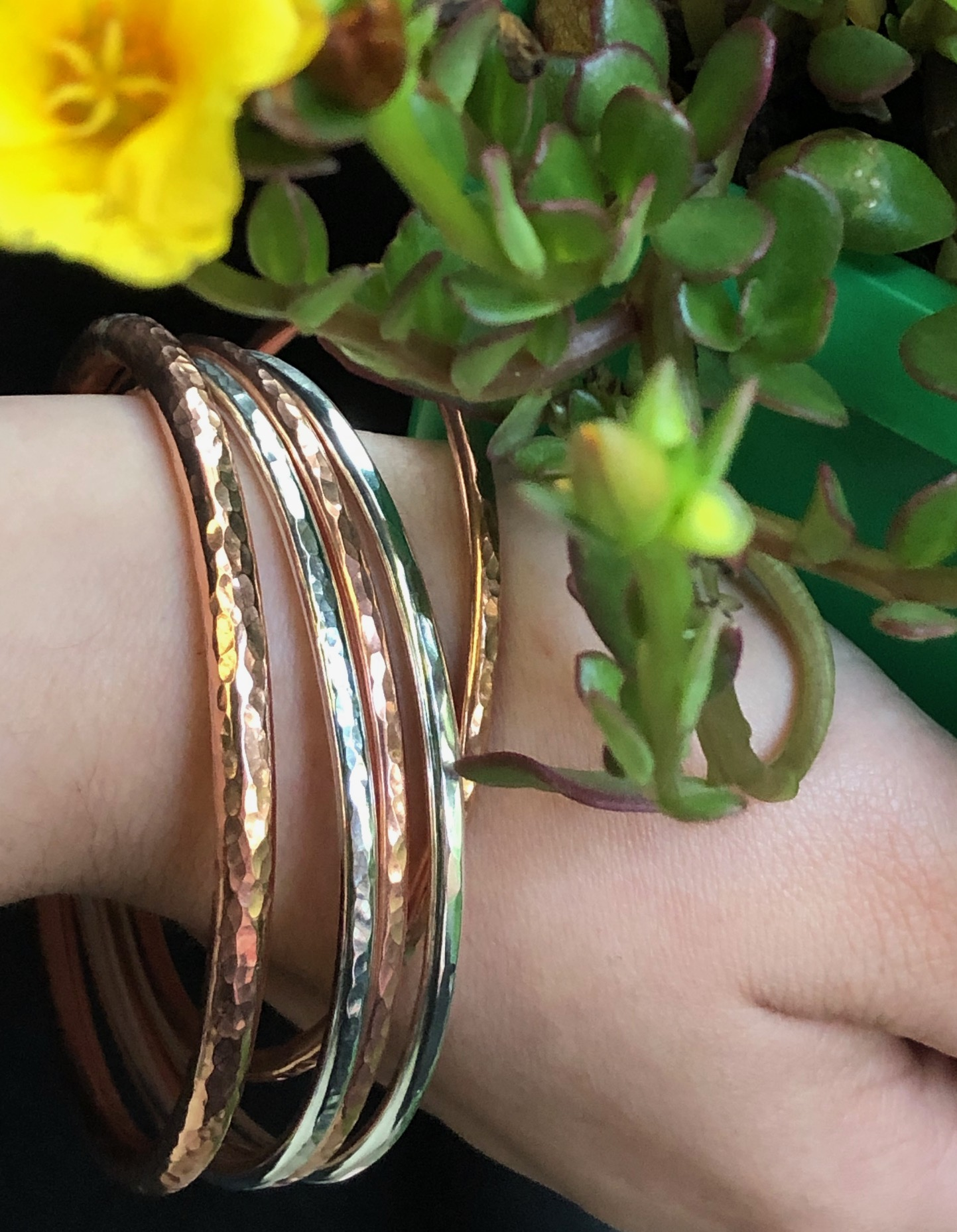 copper and silver bangles